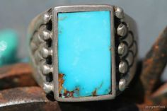 Vintage Signed Navajo Style Sterling Silver  Turquoise Mens Ring -New Old Store Stock.