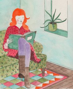 Hirondelle Dessin: Reading woman