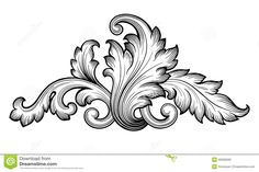 Vintage Baroque Floral Scroll Set Ornament Vector Stock Vector ...