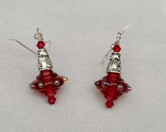Cranberry & Silver Glass Earring Pair