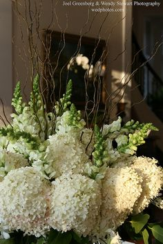 Do it myself card table arrangement-hydrangea, snapdragon, curly willow