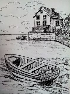 A boat near the old pier drawing in 2019 карандашные рисунки, рисунки, рисо Landscape Pencil Drawings, Pencil Art Drawings, Art Drawings Sketches, Drawing Scenery, Nature Drawing, Boat Drawing, Pencil Portrait Drawing, Painting & Drawing, Art Drawings For Kids