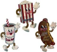Retro Snack Dancing Concession Stand Movie Popcorn~Soda~Hotdog Tin Sign Trio~