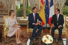 MYROYALSHOLLYWOOD FASHİON:  Spanish State Visit to France, July 22, 2014-Queen Letizia and King Felipe met with President Françoise Hollande