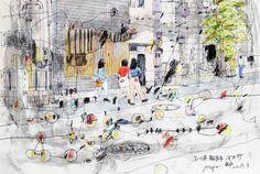 Yohji Kato Urban Sketchers, Kato, Photo Wall, Watercolor, Ink, Sketchbooks, Drawings, Sketching, Frame