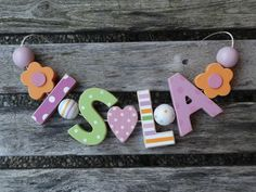 ISLA  WOODEN LETTERS DOOR NAME DECORATION PERSONALISED SHABBY CHIC BABY NURSERY