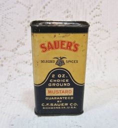 Vtg 2 OZ Sauers Ground Mustard Spice Tin ~ Antique Advertising C F Sauer Co ~ a Vintage Touch $8.00