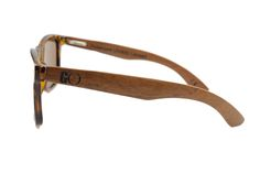 Side view with wooden arms of sunglasses