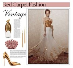 """Vintage Red Carpet Fashion"" by emmablue325 ❤ liked on Polyvore featuring Christian Louboutin, vintage, RedCarpet, Oscars, rose and metallic"