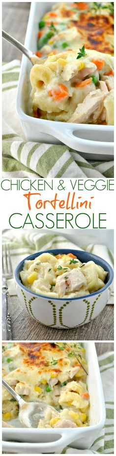 This Chicken and Veggie Tortellini Casserole is a family-friendly way to get a wholesome and comforting one dish meal on the table fast. It's a perfectly creamy, cheesy easy dinner recipe!