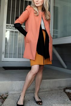Outfit Of The Yesterday: Light Blue + Orange + Mustard + Coral + Black (+ The Bailey 44 Leather Yoke Cardigan) | t h e (c h l o e) c o n s p i r a c y : fashion + life + style