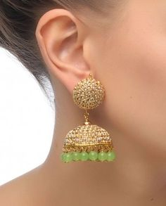 Jhumka Earrings with Green Drops