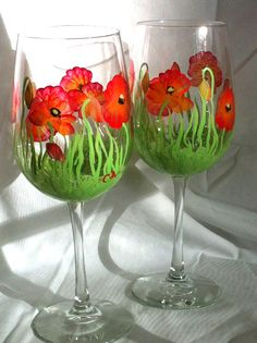 Hand-painted Wine Glasses - red poppies - set of 2 on Etsy, $25.00