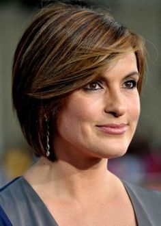 highlights for women over 50 | 42. Hairstyles for women over 50: Mariska Hargitay Tapered Bob