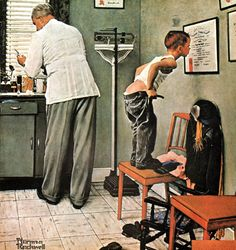 "Antes del pinchazo (""Before the shot""). Norman Rockwell. 1958. Localización: Waco (Texas). https://painthealth.wordpress.com/2016/07/15/antes-del-pinchazo/"