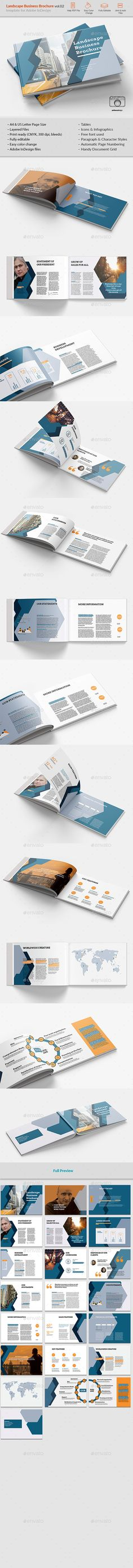 Landsape Business Brochure vol.02 - #Brochures Print #Templates Download here: https://graphicriver.net/item/landsape-business-brochure-vol02/19557099?ref=alena994