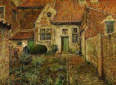 O jardim do convento. Óleo sobre tela. Ferdinand Willaert (Ghent, Bélgica, 1861-1938). Encontra-se no  Museu de Belas Artes de Antuérpia, Bélgica.
