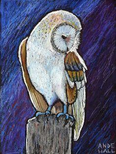 Original Owl Painting -9x12 Archival Print- Barn Owl by AndeHallFineArt, $35.00