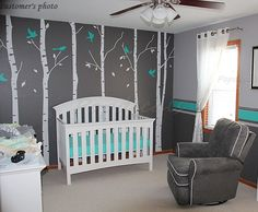 Tree Wall Decals Birch Trees Decal Nursery Tree Wall Decals Office Tree Wall Murals - Six Big Birch Trees with Flying birds.... the turquoise is gorgeous