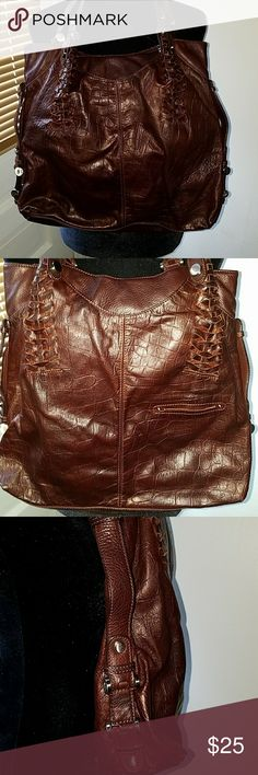 B Makowsky Leather Bag Stylish brown leather woven stitching B Makowsky Bags Shoulder Bags