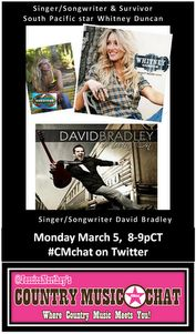 looking forward to having Singer/Songwriter/SurvivorSouthPacificStar Whitney Duncan & Singer/Songwriter David Bradley on CMchat 3/5 http://on.fb.me/WhitneyandDavid