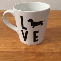 Dachshund LOVE Mug  Doxie Silhouette Gift by TwoDoxieDesigns
