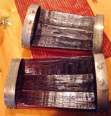 Small appitizer trays make from wine barrel staves and rings