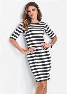 Jurk wolwit/zwart gestreept nu in de onlineshop van bonprix.nl vanaf ? 32.99 bestellen. Elegante jurk in accentuerend model met strepen all-over, ronde hals ...