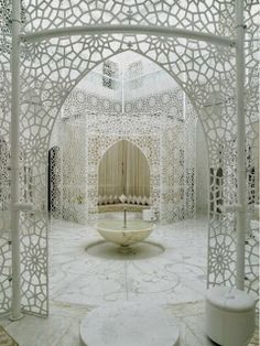 Moroccan Architecture. the use of white texture and geometry are stunning. I wonder if part of my house or yard can look like this