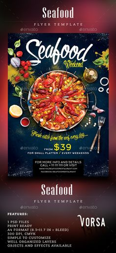 Seafood Weekend Flyer — Photoshop PSD #fish fry #weekend • Download ➝ https://graphicriver.net/item/seafood-weekend-flyer/19593281?ref=pxcr