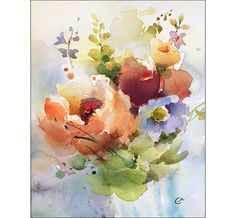 Flowers Watercolor Original Painting by Maria Stezhko