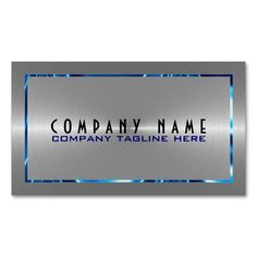 Modern metallic faux gold stainless steel look business card silver gray stainless steel look blue accents double sided standard business cards pack of make your own business card with this great design flashek Gallery