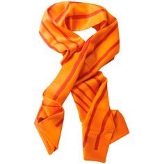 """Pre-owned Silk scarf """"""""Mediteranée"""""""" ($350) ❤ liked on Polyvore featuring accessories, scarves, orange, silk shawl, hermes shawl, silk scarves, orange scarves and pure silk scarves"""