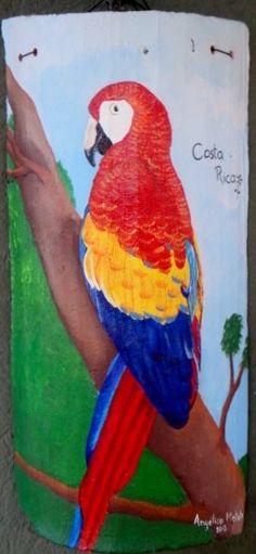 Teja de barro pintada a mano en acr lico tejas de barro pinterest bird houses - Pintar tejas de barro ...