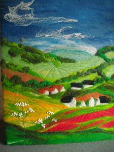wet felted  landscape poppy field by SueForeyfibreart on Etsy, $115.00