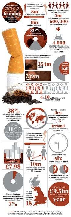 World No Tobacco Day: Smoking Statistics [Infographic] Diet Food List, Food Lists, Fitness Infographic, Health Infographics, Smoking Statistics, Anti Smoking, Smoking Effects, World No Tobacco Day, Powerpoint Free
