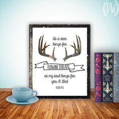 @Ashley Walters Johnson Bible Verses art printable Scripture wall art print Christian wall decor feathers, inspirational quote Psalm 42:1 antlers INSTANT DOWNLOAD