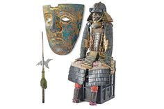 Recalling Warriors of Old  Clockwise from left, a decorative 16th-century German halberd; a first-century bronze facial mask of a Roman helmet; Japanese samurai armor from the 16th-17th century.