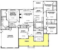 #655752 - 4 bedroom 2 bath traditional plan : House Plans, Floor Plans, Home Plans, Plan It at HousePlanIt.com