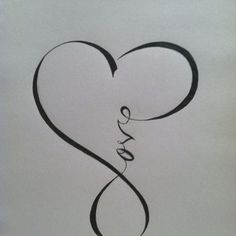 """Love"" calligraphy that resembles the ""infinity"" sign . Love this tatoo. Tatoo Dog, Tatoo Henna, Diy Tattoo, Get A Tattoo, Wrist Tattoo, Tattoo Small, Tattoo Ink, Future Tattoos, New Tattoos"