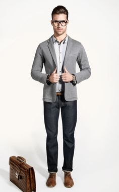 Heather grey Japanese cotton twill knit blazer by Private Stock  Don't worry, you can go ahead and buy it. I guarantee you'll look cooler than this model does. | From - PRIVATE STOCK