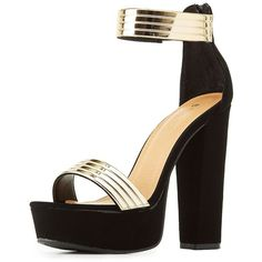 Bamboo Gold-Trim Two-Piece Platform Sandals (37 AUD) ❤ liked on Polyvore featuring shoes, sandals, black platform wedge sandals, chunky-heel sandals, metallic sandals, platform wedge sandals and black platform sandals