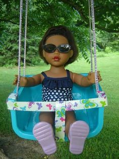 A Wonderful Summer Time Doll Craft From Reader Fawn! A Doll Swing You Can Make From Dollar Store Items! Summer Activities For Kids, Summer Kids, Baby Activities, Enjoy Summer, Spring Break, Crafts For Girls, Diy For Girls, Kid Crafts, Doll Crafts