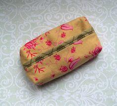 Taschentücher-Taschen - Taschentüchertasche Vögel Blumen gold rosa grün - ein Designerstück von MiMaKaefer bei DaWanda