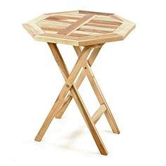 DIVERO Balkontisch Gartentisch Tisch Beistelltisch Holz Teak Klappbar 60 Cm