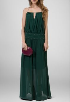 PowerLook Aluguel de Vestidos Online- ANIMALE Vestido Amber longo de chiffon com cintura baixa Animale - verde musgo #animale #Amber #chiffon #verdemusgo #soltinho #vestidomadrinha #madrinha #vestidolongo #vestidofesta