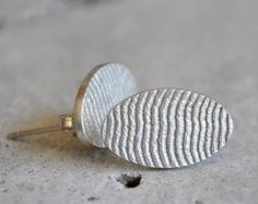 Hand crafted sterling silver oval earrings with a cuttlefish bone texture. Handmade Jewelry, Unique Jewelry, Handmade Gifts, Cuttlefish, Women's Earrings, Bronze, Texture, Sterling Silver, Trending Outfits