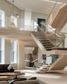 Contemporary Staircase with Loft, Glass railing system, Open concept, Glass railing, Floating staircase, High ceiling