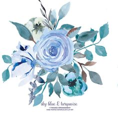 Watercolor Flower Clipart One Arrangement Hand Painted Flowers Wedding Invite DIY PNG File Commercial Use Watercolor Sky, Watercolor Flowers, Watercolor Paintings, Tattoo Watercolor, Flower Clipart, Collage Sheet, Blue Flowers, Flower Art, Wedding Invitations