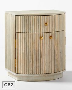 White-washed mango wood nightstand supports a unique curved silhouette and configuration: one drawer and two doors concealing a shelf inside for extra storage. We love the on-trend channeled detailing and brass knobs, too. CB2 exclusive. Modern Bedroom, Master Bedroom, A Shelf, Shelves, Bedroom Furniture, Furniture Design, Wood Nightstand, Eclectic Style, Extra Storage
